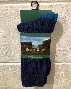 Riverview Soft Merino Wool Socks blue/teal