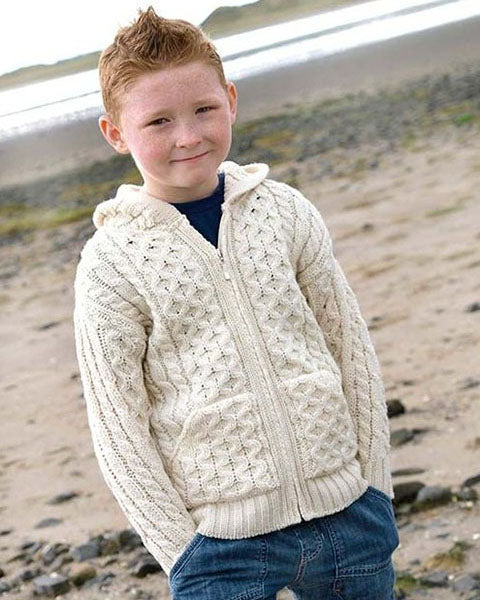 Aran Kids Hoody Natural