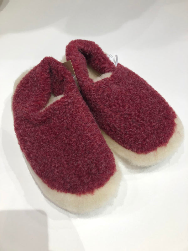Merino Wool Slippers Red
