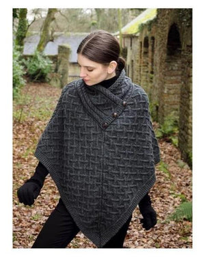 Super Soft Aran Poncho Charcoal