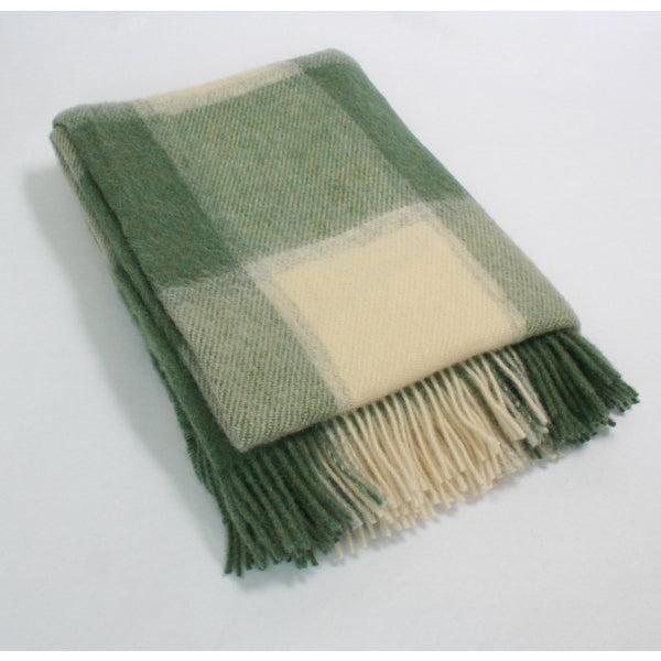 John Hanly Wool Throw Sage & Cream