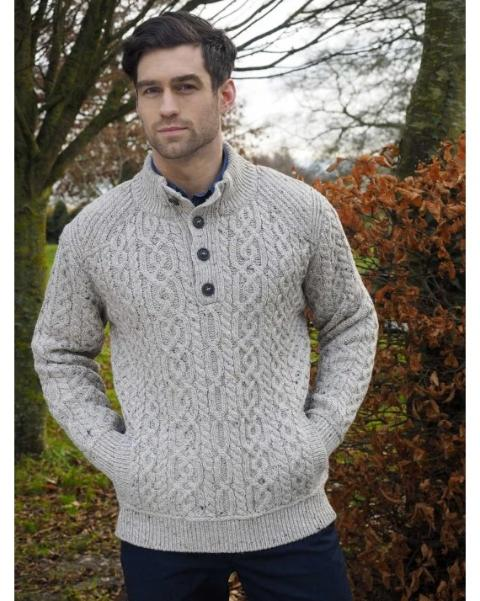 Traditional Knit 4 Button Oatmeal