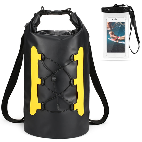 15L Waterproof Dry Bag with Phone Case Swimming Bag Roll Top Dry Sack for Kayak Boating Fishing Surfing Rafting River Trekking