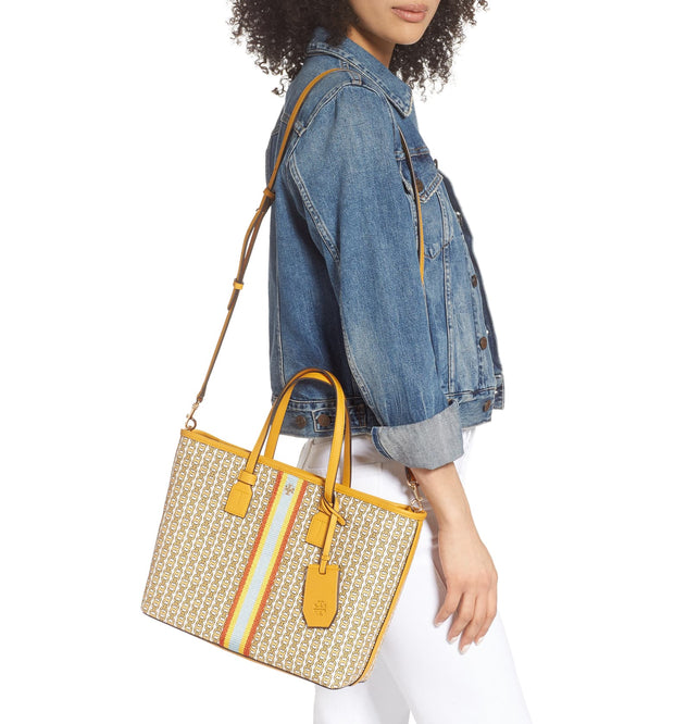 Tory Burch Gemini Link Canvas Small Tote- Daylily