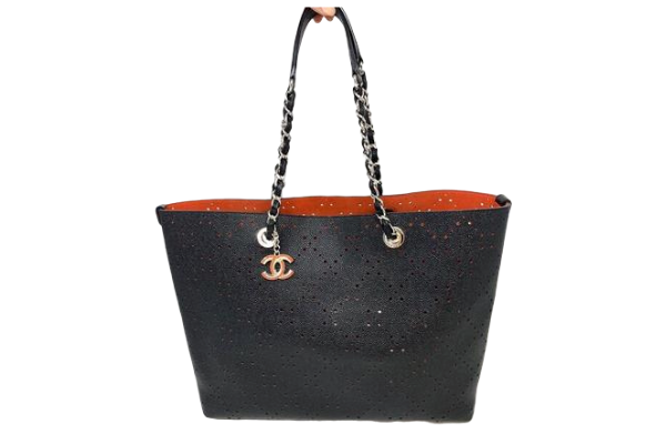 Chanel Perforated Grained Calfskin Large Shopping Tote