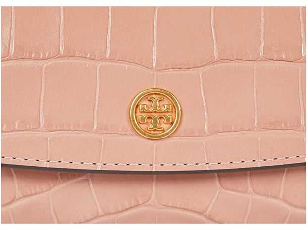 Tory Burch Robinson Embossed Chain Wallet - Pink Moon