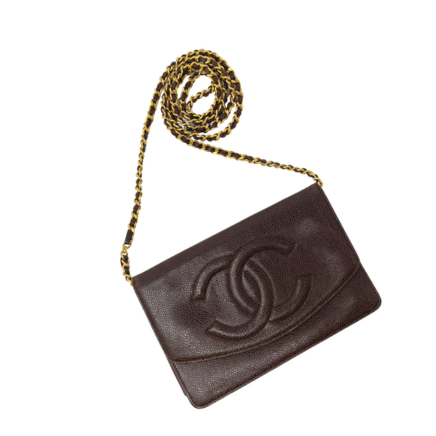 Chanel Timeless Brown Caviar Wallet on Chain