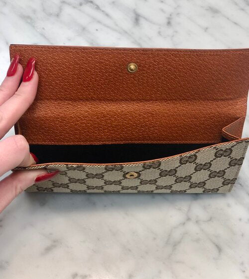 Gucci Monogram Wallet With Studs