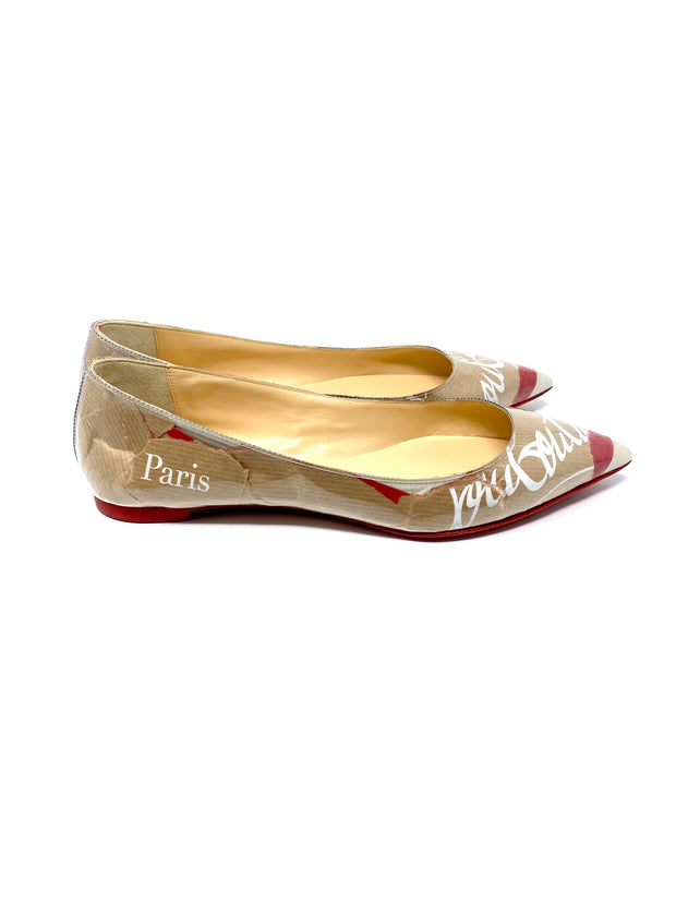 Christian Louboutin Kraft PVC and leather pointed flats size 38.5