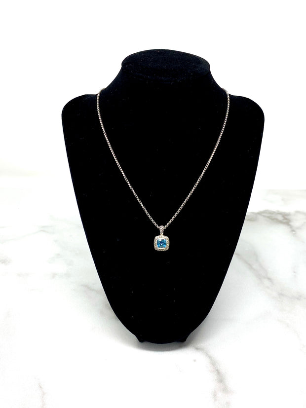 David Yurman Petit Albion Necklace with Diamonds and Blue Topaz