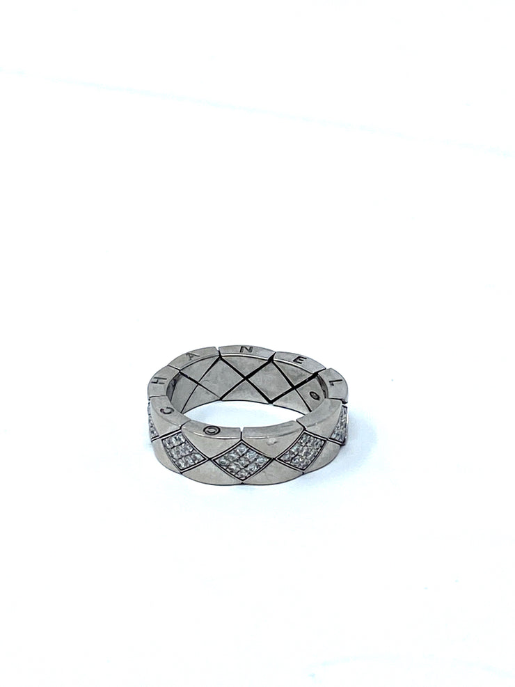 Chanel 18K White Gold Diamond Matelassé Ring