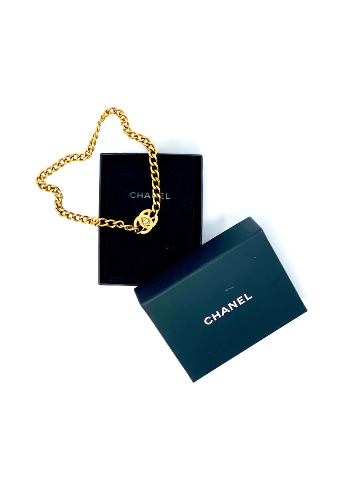 Chanel Vintage Turn-Lock Logo Necklace