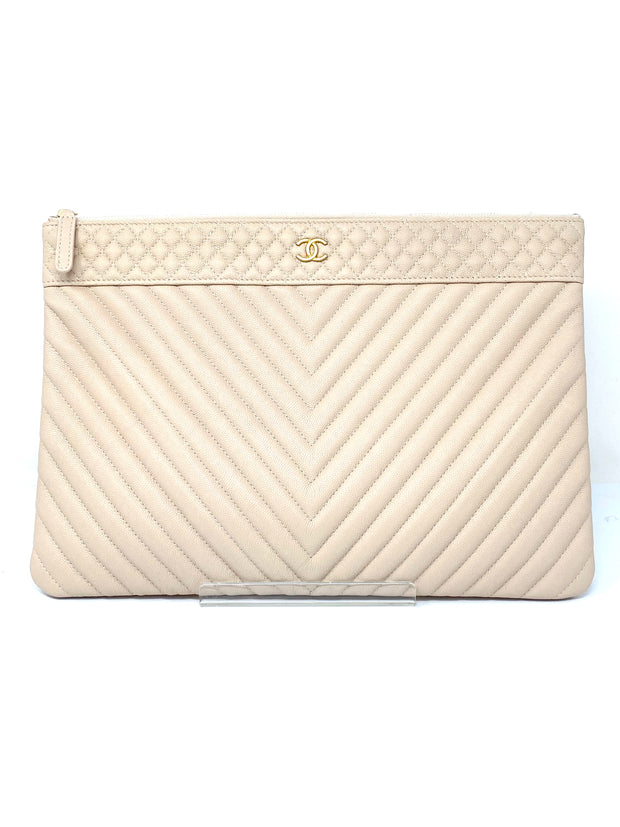 Chanel Beige Caviar Leather Pouch