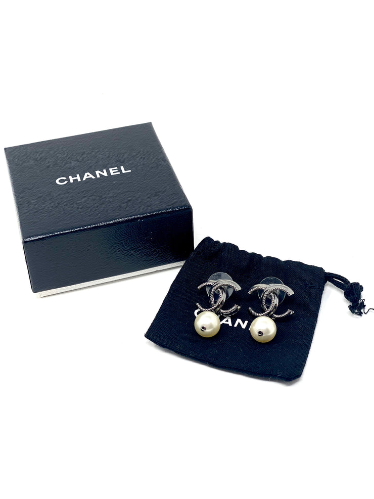 Chanel Pearl and Rhodium CC Drop Earrings
