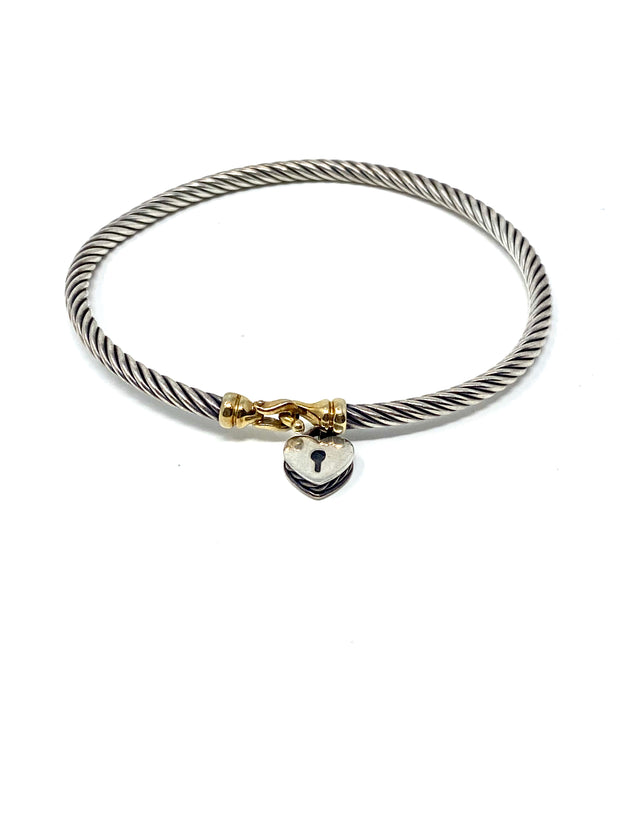 David Yurman Two-Tone Cable Collectibles Heart Lock Bracelet