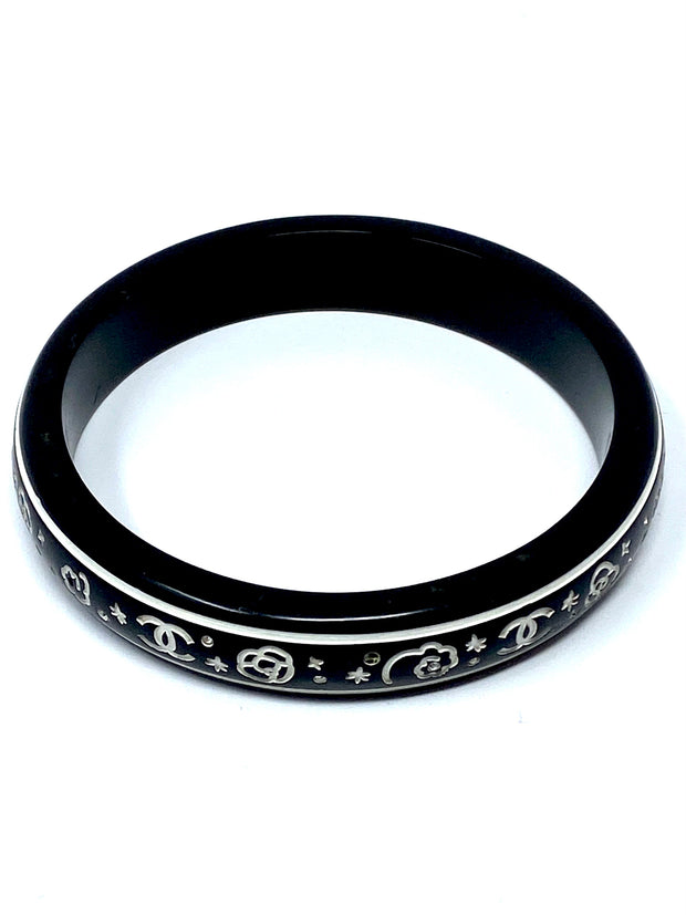 Chanel Black and White Resin Bangle