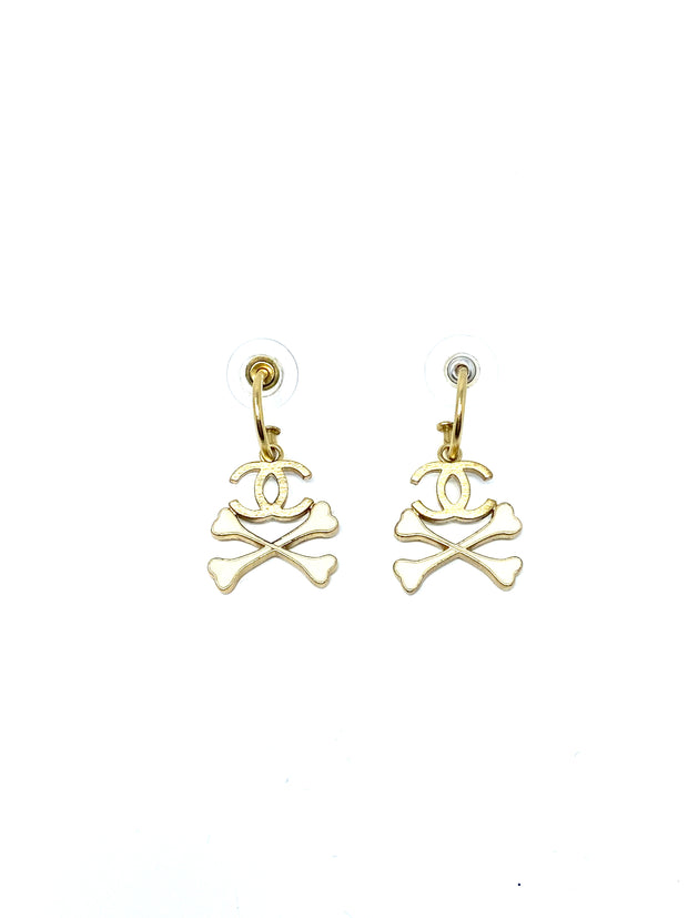 Chanel Logo Crossbones Earrings