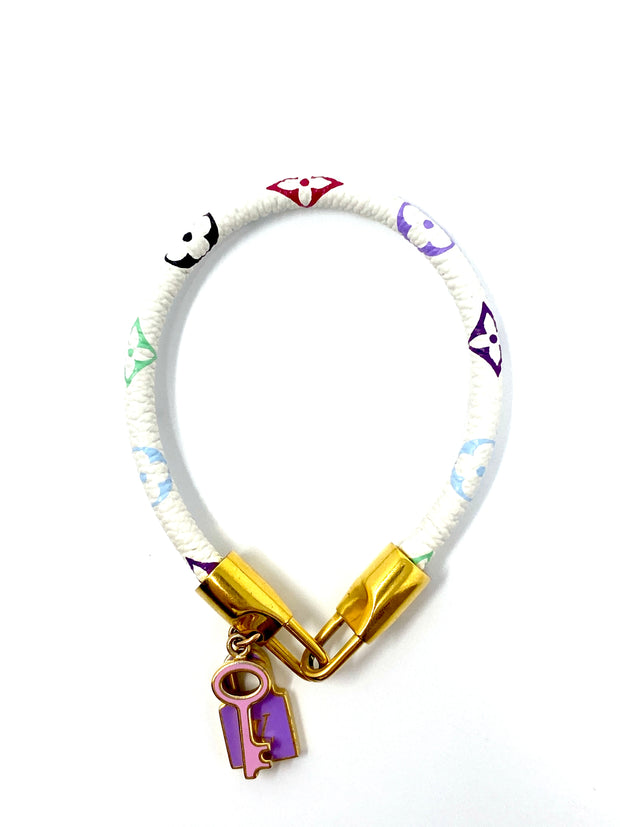 Louis Vuitton White Multicolored Quatrefoils Luck It Bracelet
