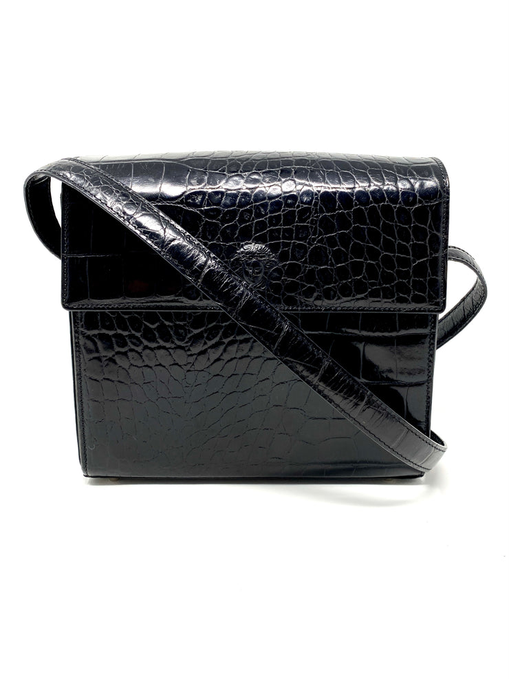Versace Embossed Leather Shoulder Bag