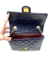 Chanel Navy Blue Lambskin Classic Mini Single Flap