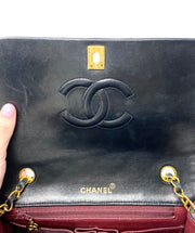 "Chanel Black Lambskin 9"" Single Flap"
