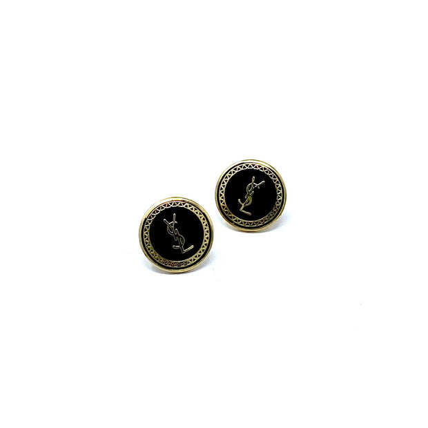 YSL Repurposed Button Earrings