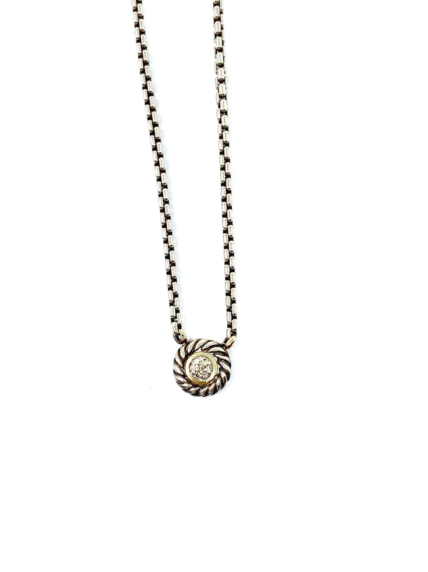 David Yurman Diamond Cookie Pendant Necklace