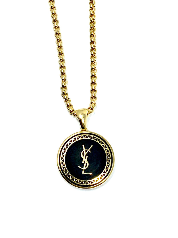 YSL Repurposed Button Necklace
