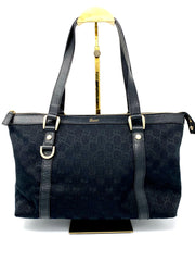 Gucci GG Black Leather & Canvas Tote