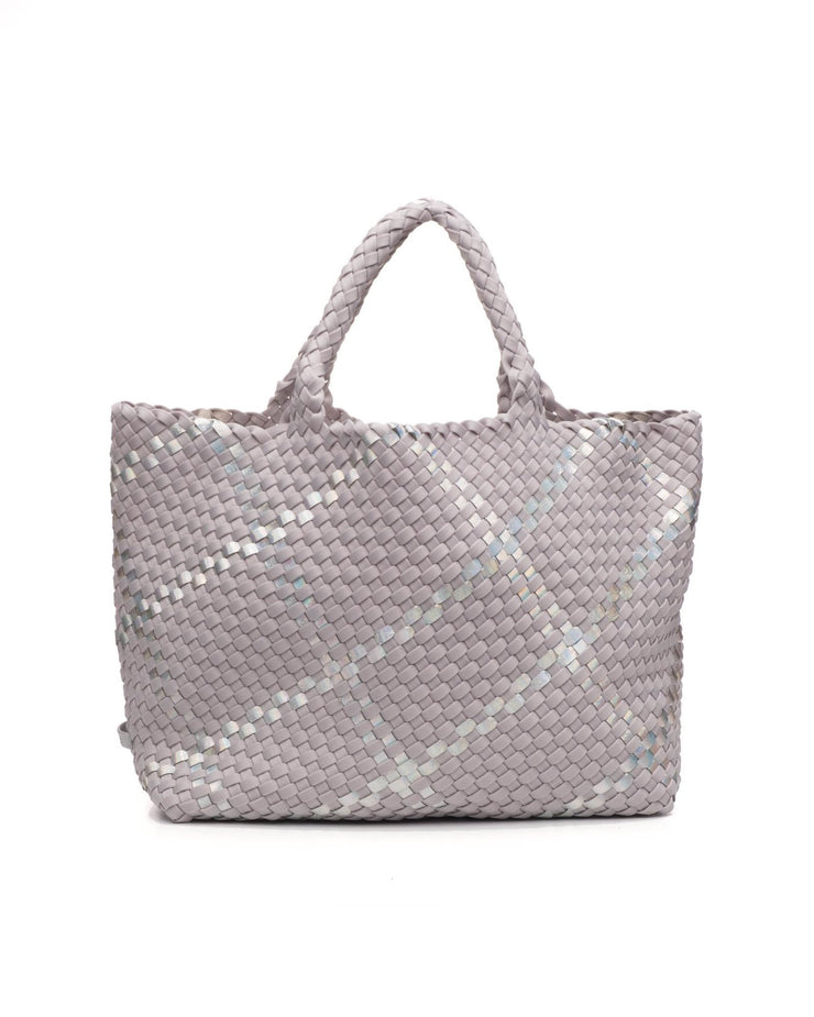 NAGHEDI SMALL ST. BARTHS TOTE - OYSTER PLAID