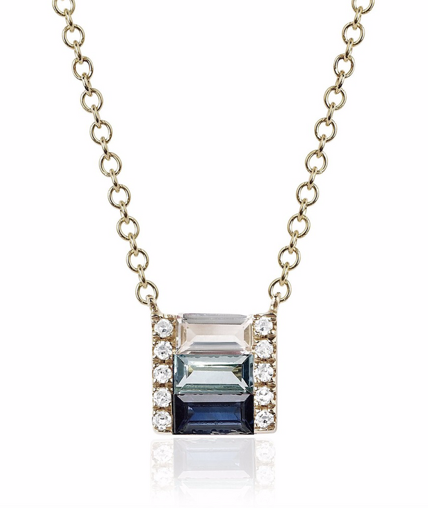 EF Collection Sapphire Fade Brick Necklace