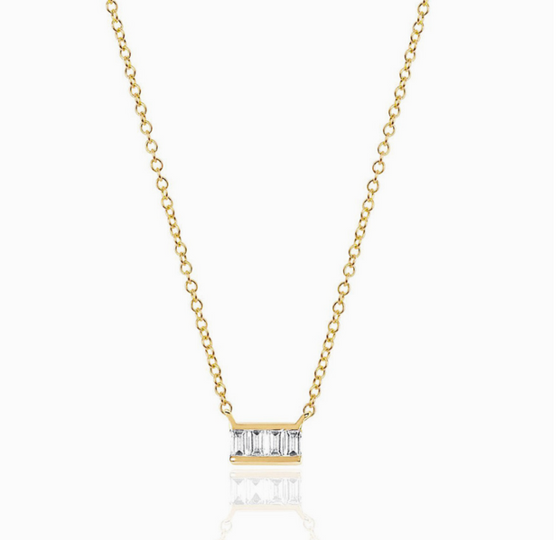 EF Collection Mini Baguette Bar Necklace