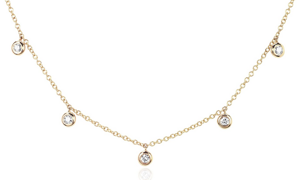 EF Collection 5 Diamond Bezel Choker Necklace