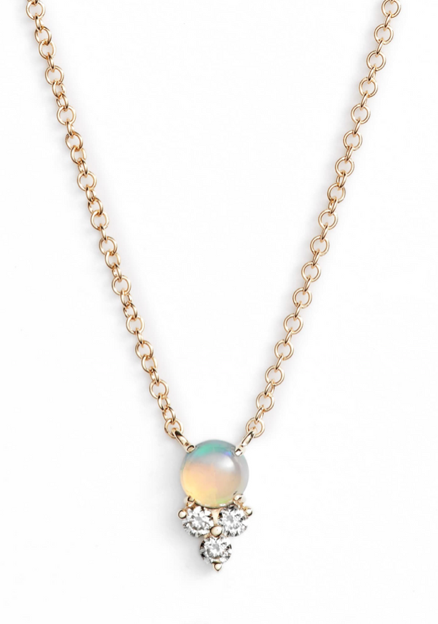 EF Collection Diamond Trio Necklace with Opal