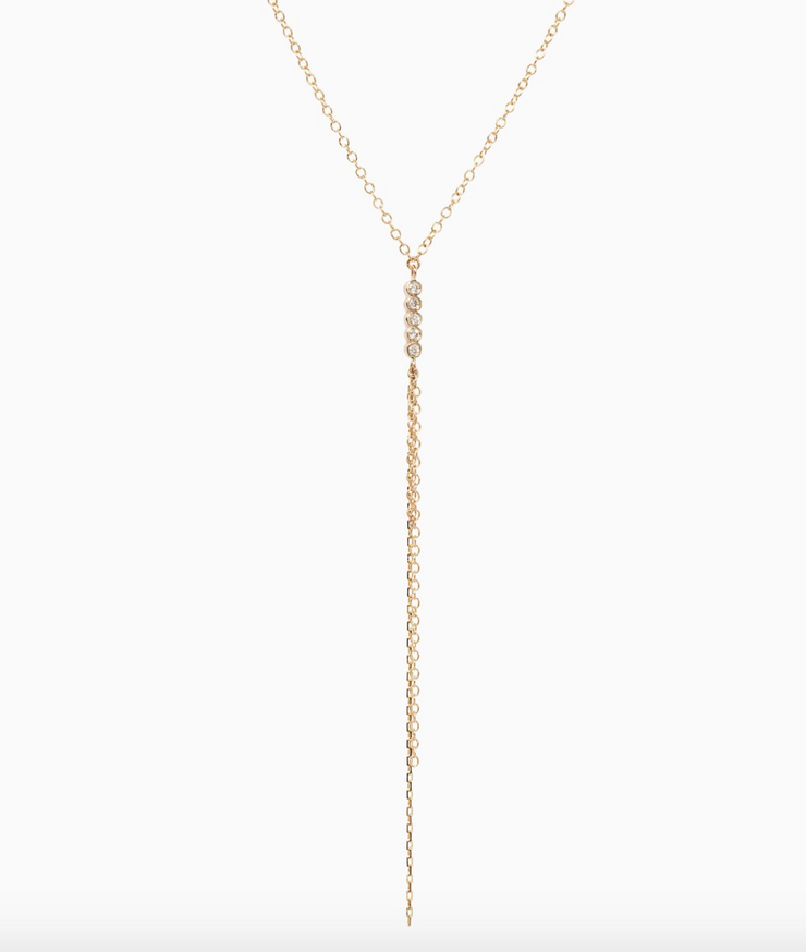 Sophie Ratner Five Diamond and Chain Necklace