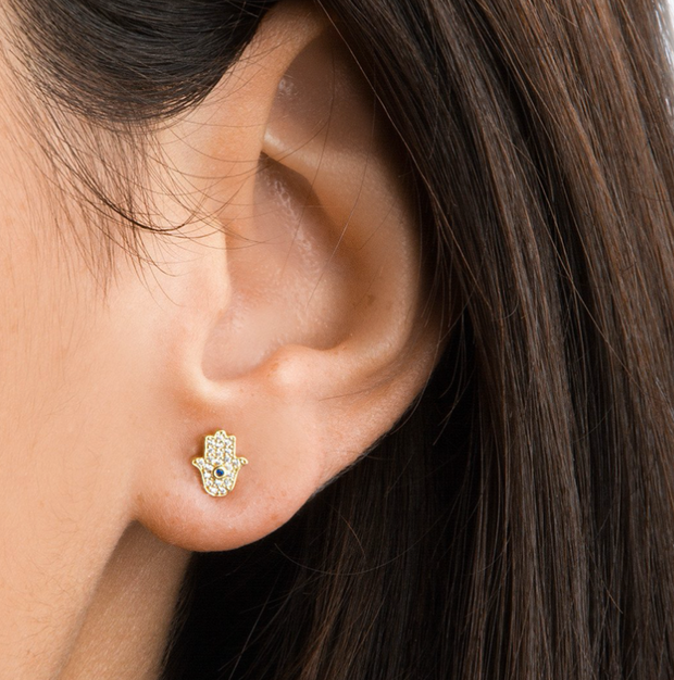 Tai Pave Mini Hamsa Earrings