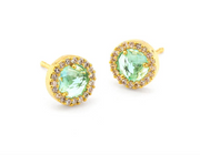 Tai Small Pave Glass Earrings- Blue Zircon, Clear, Chrystophase