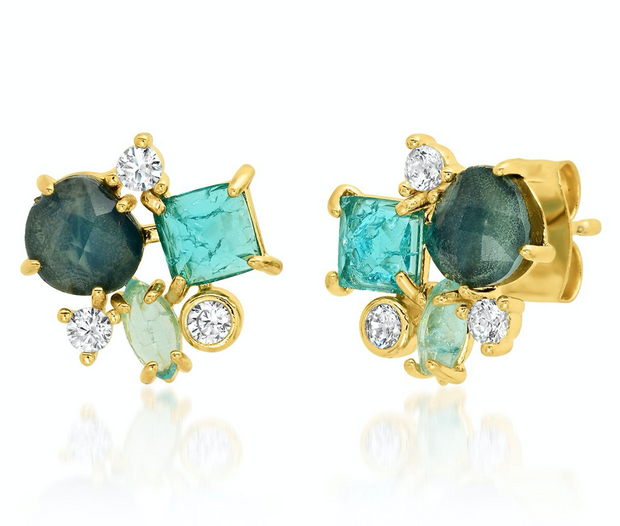 Tai Blue Cluster Stud Earrings