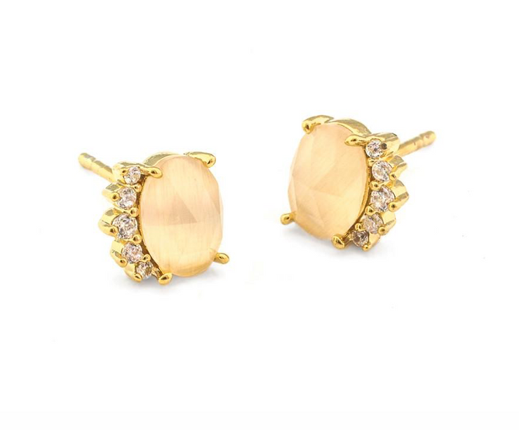 Tai Stone Post Earring with CZ