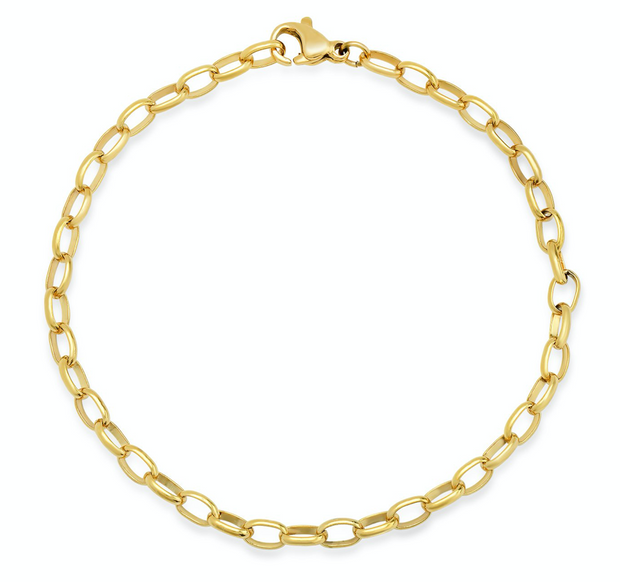 Tai Gold Oval Cable Chain Link Bracelet