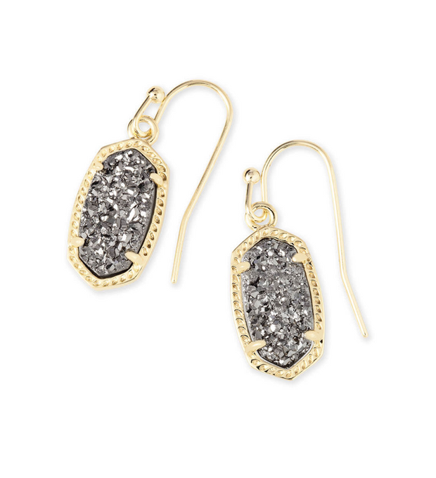 Kendra Scott Lee Gold Drop Earrings in Platinum Drusy