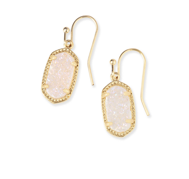 Kendra Scott Lee Gold Drop Earrings In Iridescent Drusy