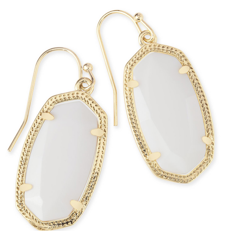 Kendra Scott Dani Gold Earrings in White Pearl