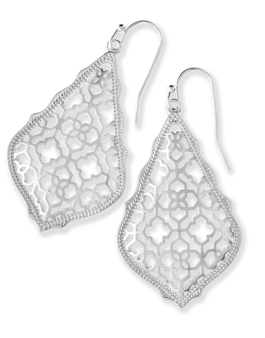 Kendra Scott Addie Silver Drop Earrings In Silver Filigree Mix