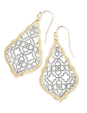 Kendra Scott Addie Gold Drop Earrings In Silver Filigree Mix