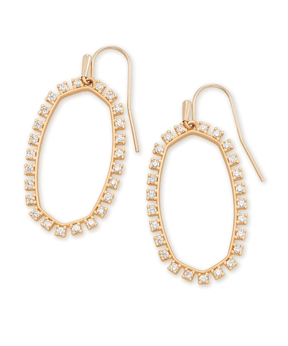 Kendra Scott Elle Open Frame Crystal Drop Earrings In Rose Gold