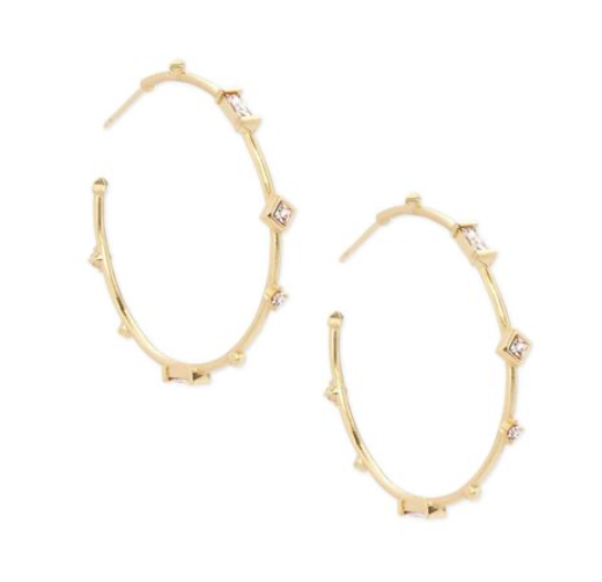 Kendra Scott Rhoan Gold Earrings In Clear Crystal