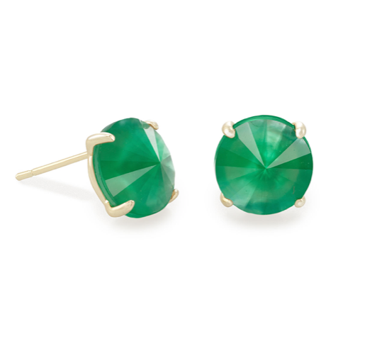 Kendra Scott Jolie Gold Stud Earrings In Jade Green Illusion