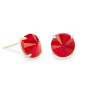 Kendra Scott Jolie Gold Stud Earrings In Cherry Red Illusion
