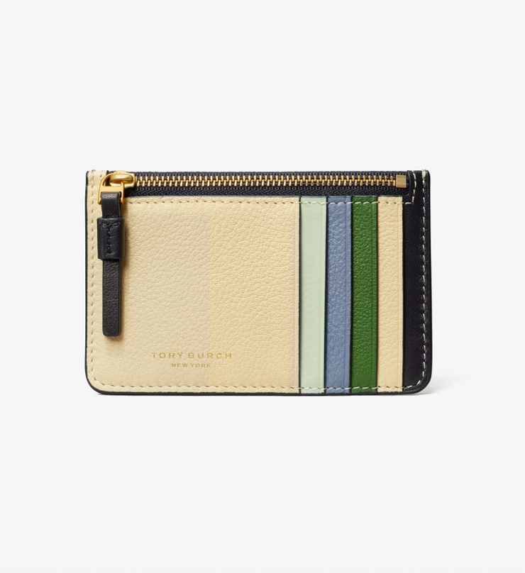 TORY BURCH PERRY COLORBLOCK TOP-ZIP CARD CASE